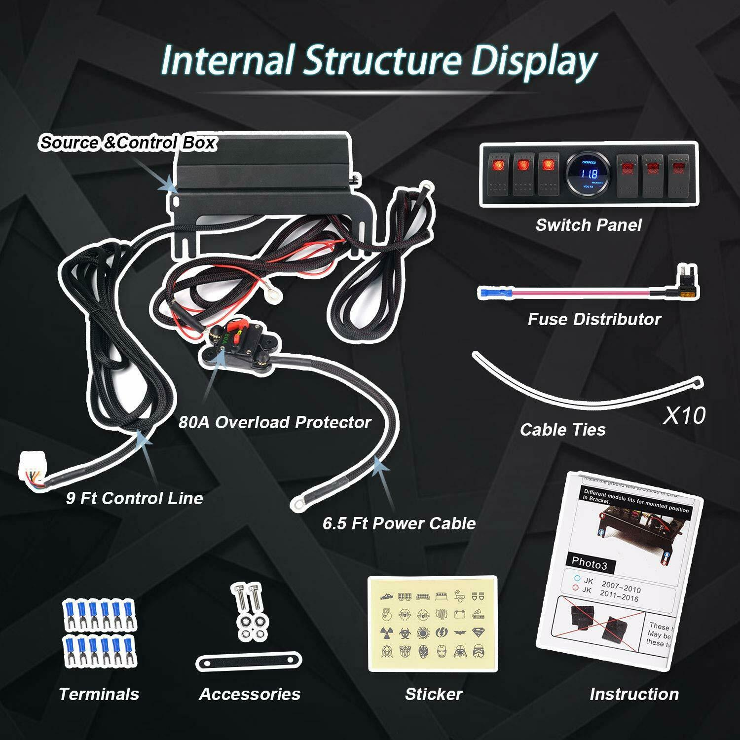 6 Switch S Pod Wiring Relay Harness Voltage Display 2007-2016 Jeep on jeep relay switches, packard relay wiring, jeep clutch, ford relay wiring, jeep fuel pump relay, mini relay wiring, mercury relay wiring, car relay wiring, jeep horn relay, motorcycle relay wiring, iso relay wiring, jeep brake lights, kia relay wiring, volvo relay wiring, jeep headlights, renix relay wiring, automotive relay wiring, gm relay wiring, subaru relay wiring, ac relay wiring,